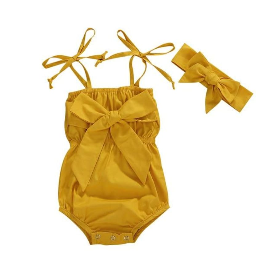 Marisole Big Bow Romper - Yellow / 18-24 Months - Rompers Rompers