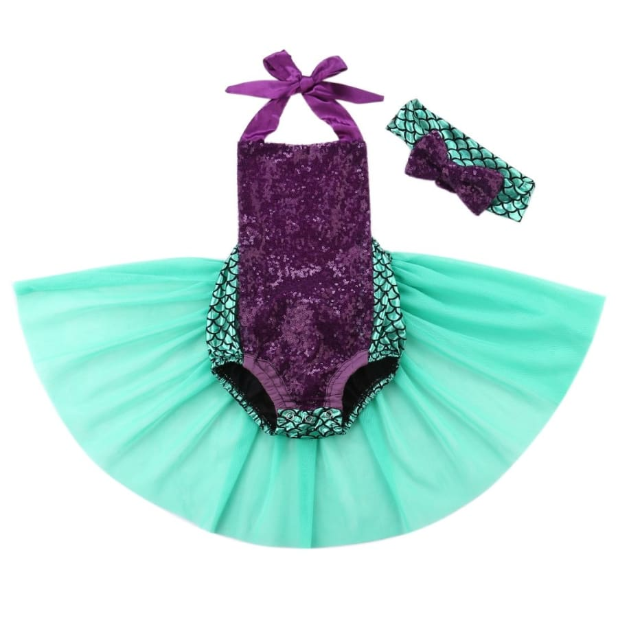 Mary Mermaid Halter Neck Romper - 0-6 Months - Costume costume mermaid