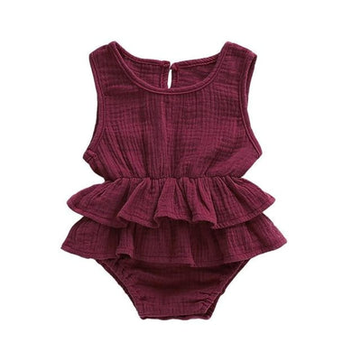 Mia Frilly Romper - Berry / 0-6 Months - Rompers flutter, frill, Girl, Rompers, summer