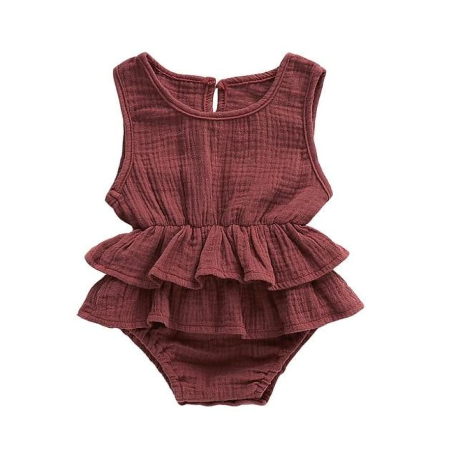 Mia Frilly Romper - Chocolate / 0-6 Months - Rompers flutter, frill, Girl, Rompers, summer