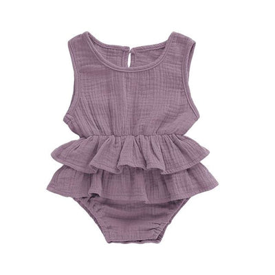 Mia Frilly Romper - Mauve / 0-6 Months - Rompers flutter, frill, Girl, Rompers, summer