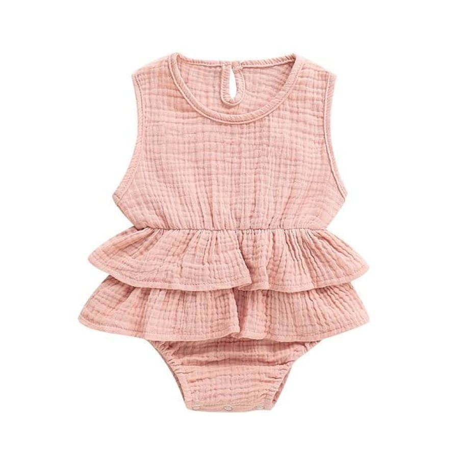 Mia Frilly Romper - Pink / 0-6 Months - Rompers flutter, frill, Girl, Rompers, summer