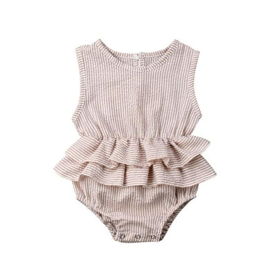 Mia Frilly Romper - Stripe / 0-6 Months - Rompers flutter, frill, Girl, Rompers, summer