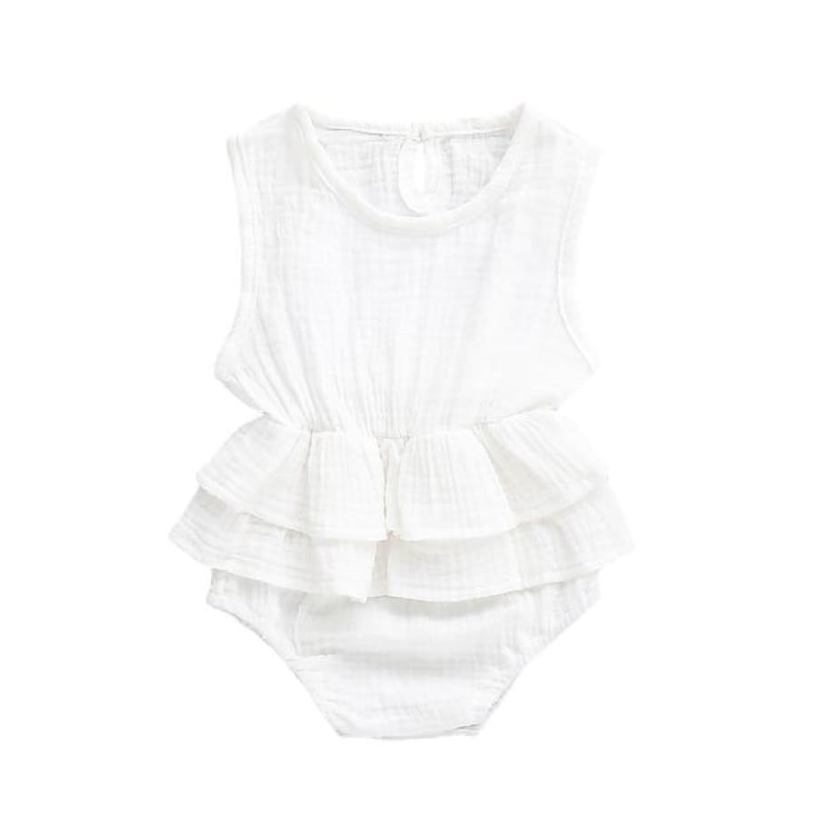 Mia Frilly Romper - White / 0-6 Months - Rompers flutter, frill, Girl, Rompers, summer