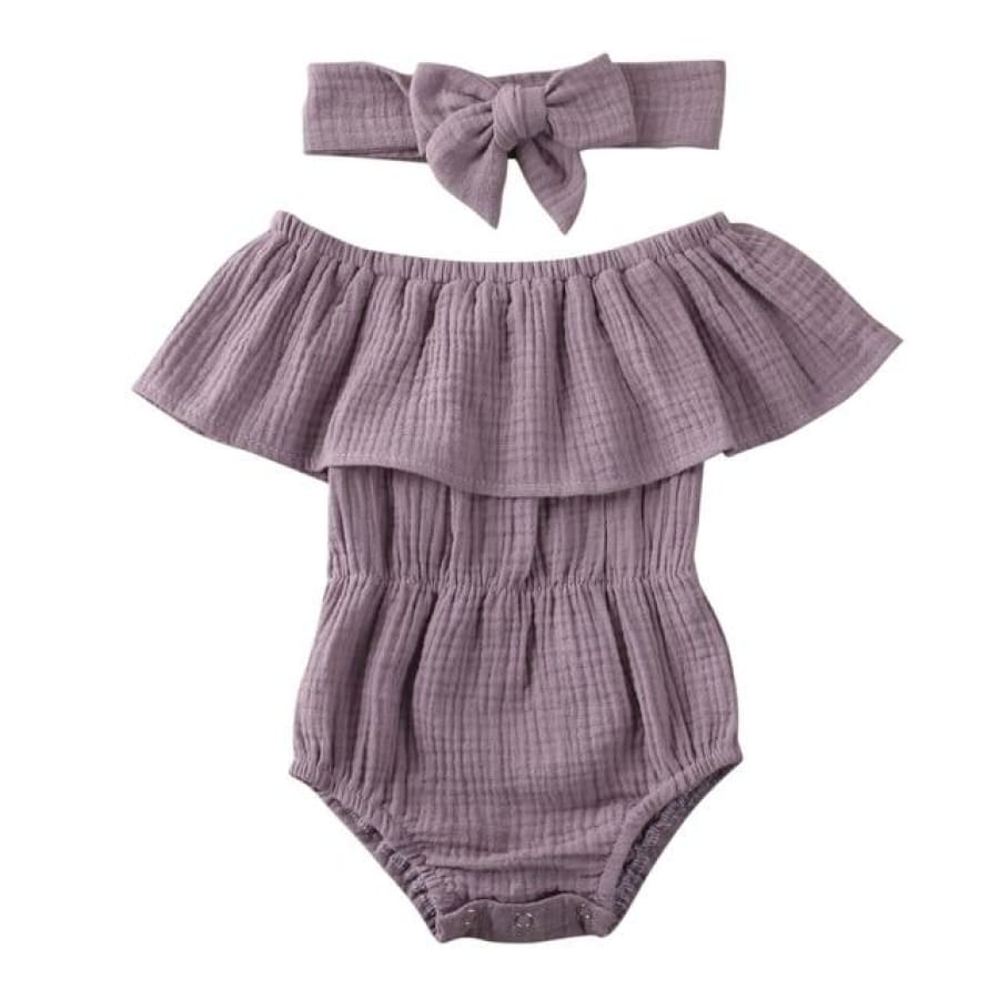 Morgan Waisted Romper - Purple / 12-18 Months - Rompers Rompers