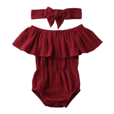 Morgan Waisted Romper - Red / 0-6 Months - Rompers Rompers