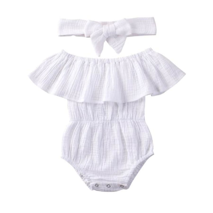Morgan Waisted Romper - White / 12-18 Months - Rompers Rompers