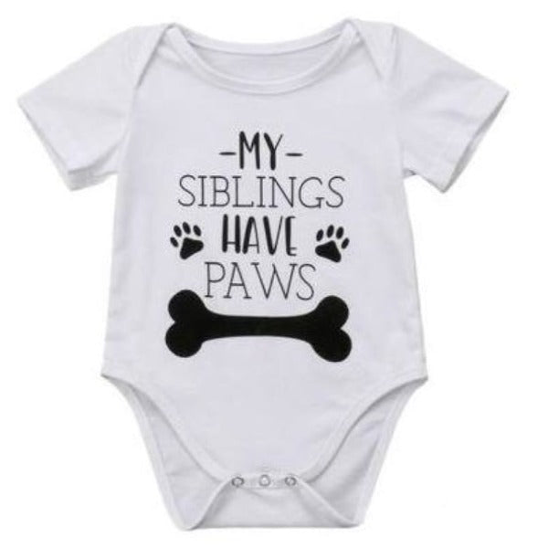 My Siblings Have Paws Onesie - 0-6 Months - onesie onesie