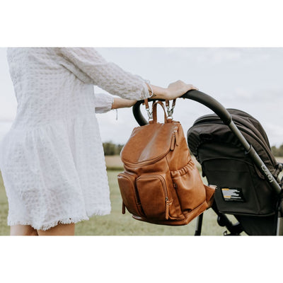 OiOi Faux Leather Nappy Backpack - Tan - Nappy Bag nappy bag