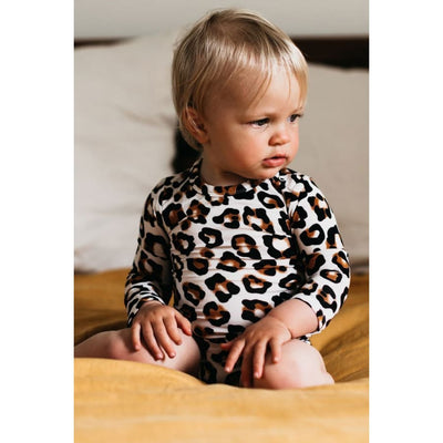 OiOi Long Sleeve Bodysuit - Natural Leopard - Bamboo Clothing bamboo, oioi