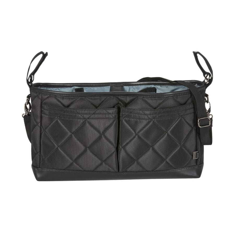 OiOi Stroller Organiser/Pram Caddy - Black Diamond Quilt - Nappy Bag nappy bag