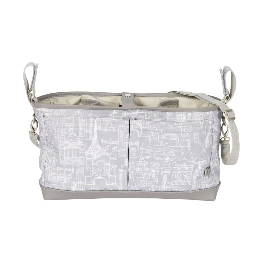 OiOi Stroller Organiser/Pram Caddy - Cityscape Grey - Nappy Bag nappy bag