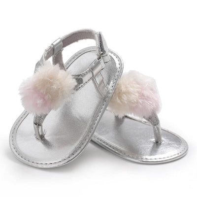 Penelope Pom Pom Sandal - Silver / 0-6 Months - Shoes Shoes