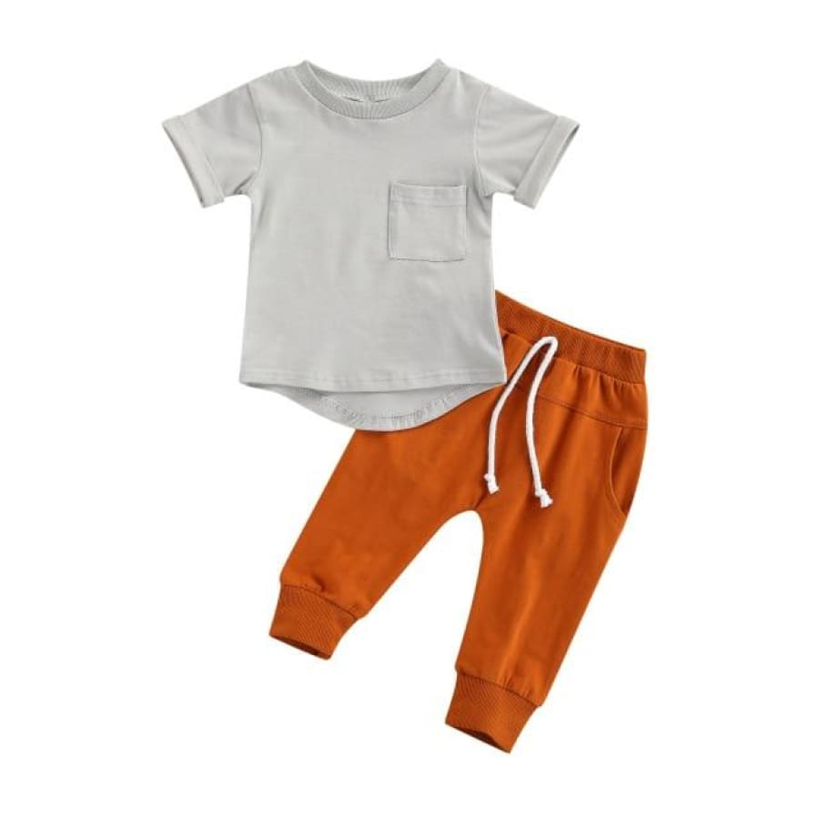 Phoenix Trackie + Tee Set - Rust / 6-12 Months - Sets sets