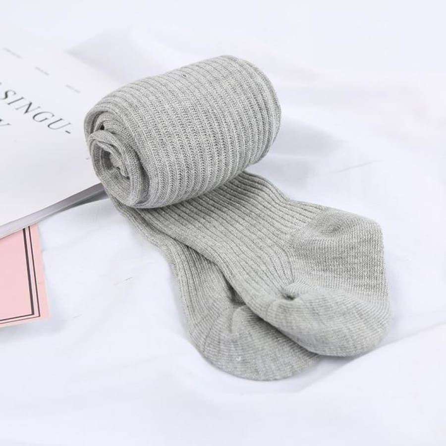 Ribbed Knit Tights - Grey / to 1 Years - Socks Socks