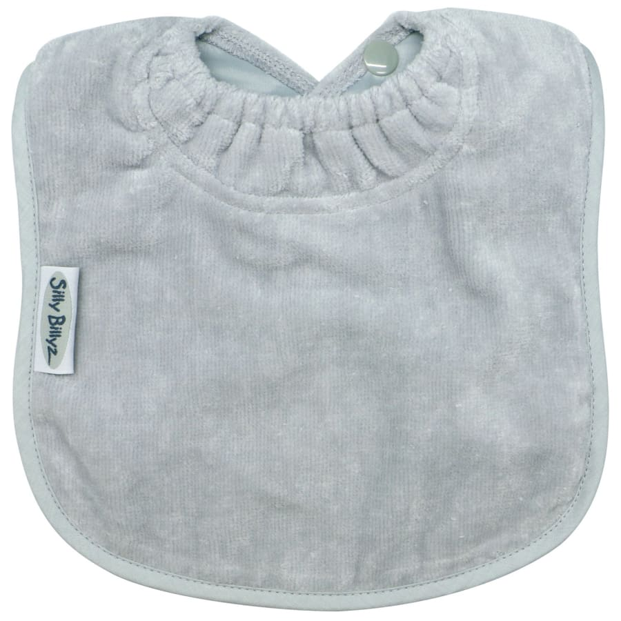 Silly Billyz Towel Large Plain Bib - Silver - Bibs bib large plain Silly Billyz towel