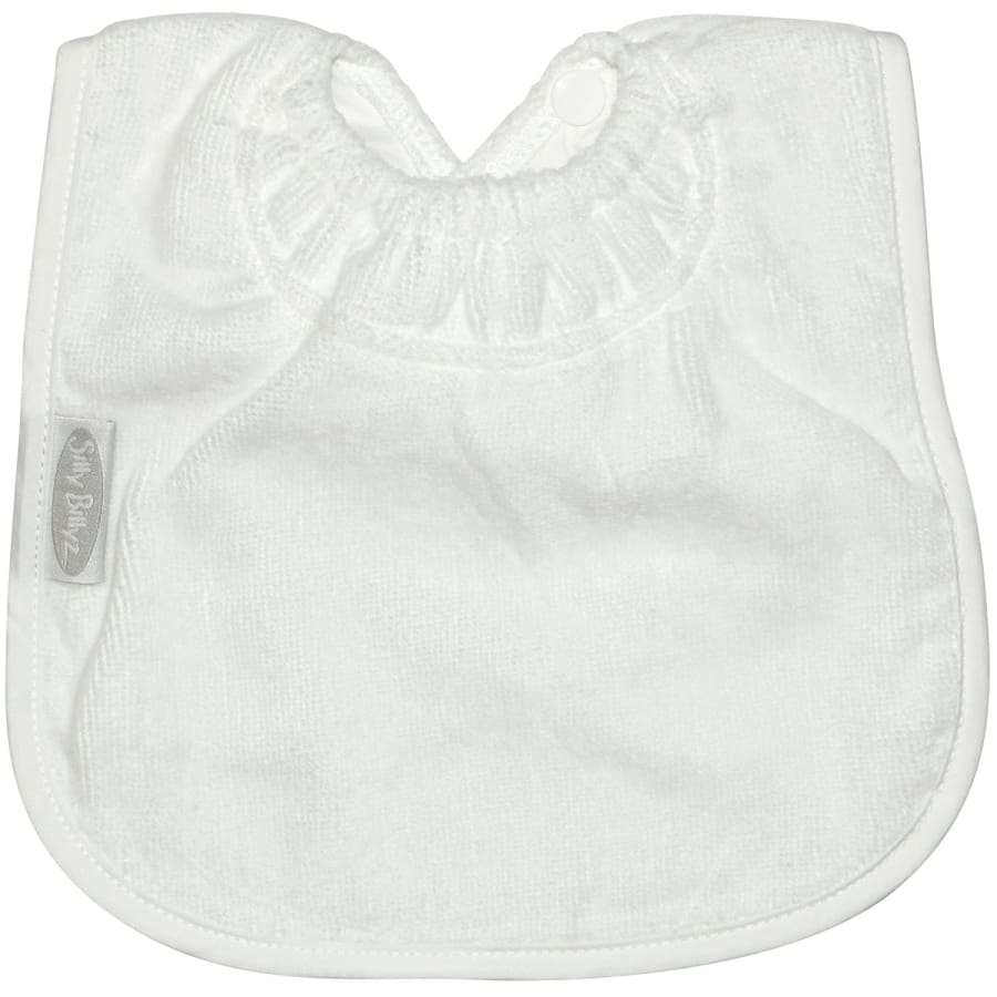 Silly Billyz Towel Large Plain Bib - White - Bibs bib large plain Silly Billyz towel