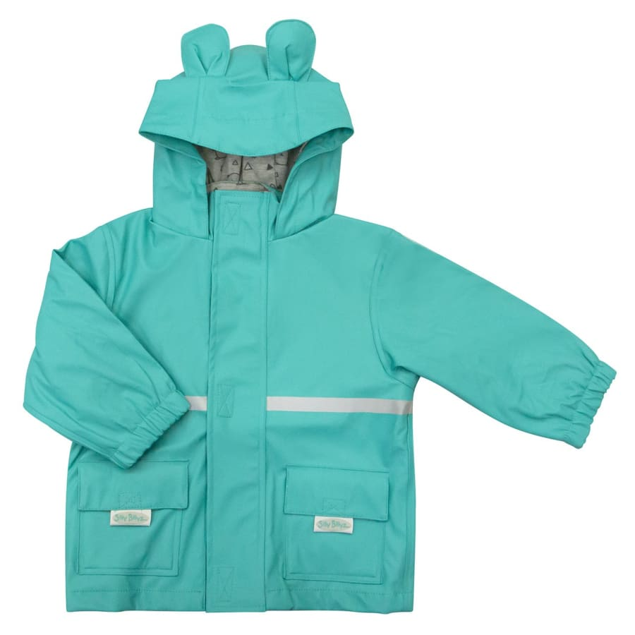 Silly Billyz Waterproof Jacket - Aqua Bear - Small - Jacket jacket overalls silly billyz waterproof weather