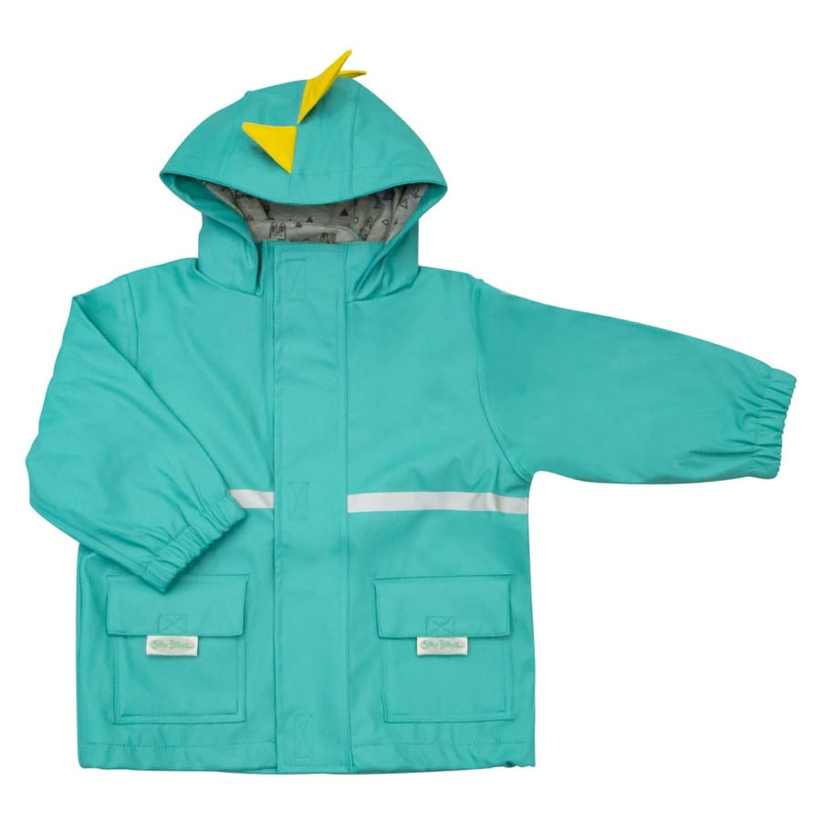 Silly Billyz Waterproof Jacket - Aqua Dino - Small - Jacket jacket overalls silly billyz waterproof weather