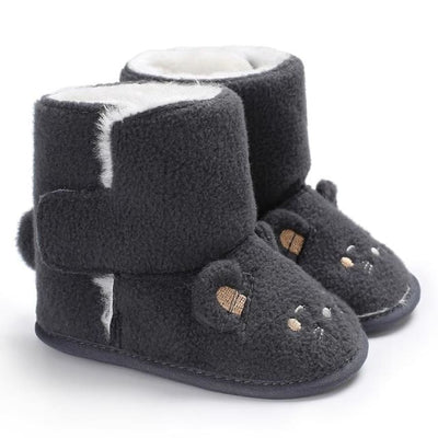 Snuggly Animal Slipper Boots - Gray / 1 - Shoes Shoes
