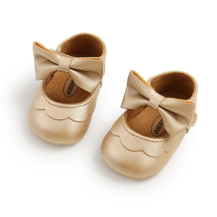 Tina Bow Soft Sole Pre Walker - Gold / 0-6 Months - Shoes shoes