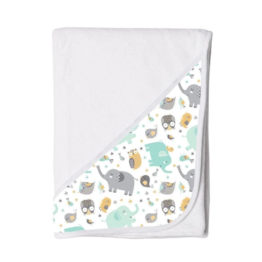 Towelling Stories Hands Free Baby Bath Towel - Owls & Elephants - Towel towel 5% off