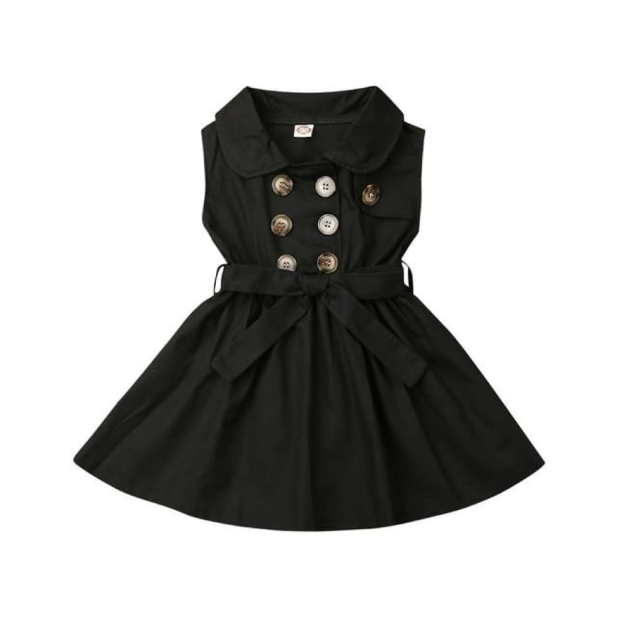 Trudie Short Sleeve Trench Dress - Black / 12-18 Months - Dress dress summer trench waisted