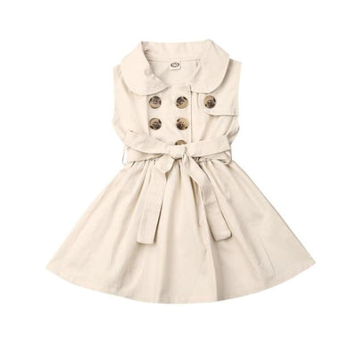 Trudie Short Sleeve Trench Dress - Cream / 3-4 Years - Dress dress summer trench waisted