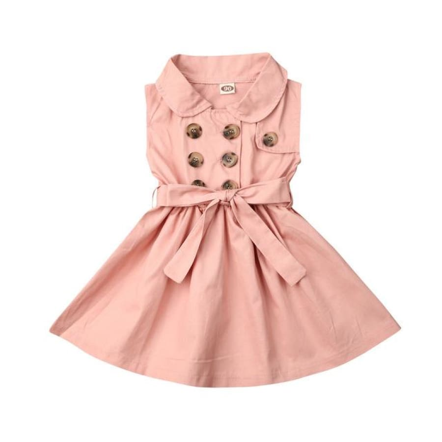 Trudie Short Sleeve Trench Dress - Pink / 12-18 Months - Dress dress summer trench waisted
