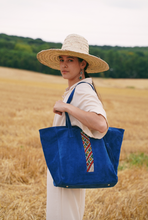 Suede and Kilim Tote bag - Blue