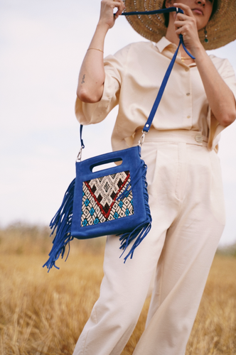 Fringe suede bag blue  with strap- IRO