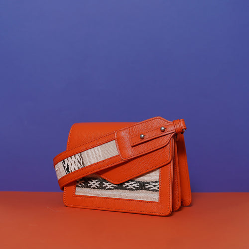 NAM Double Compartment Bag Orange with shoulder strap