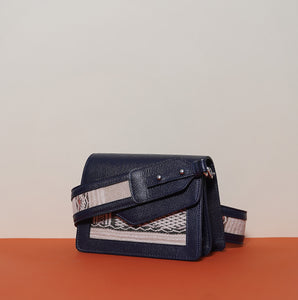 NAM Double Compartment Bag Dark Blue with shoulder strap