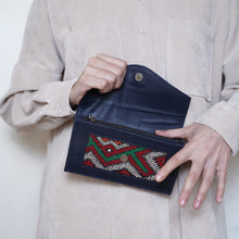 Lalla Wallet dark blue and red patterns