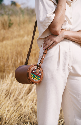 Barrel Bag - Brown Adjustable strap