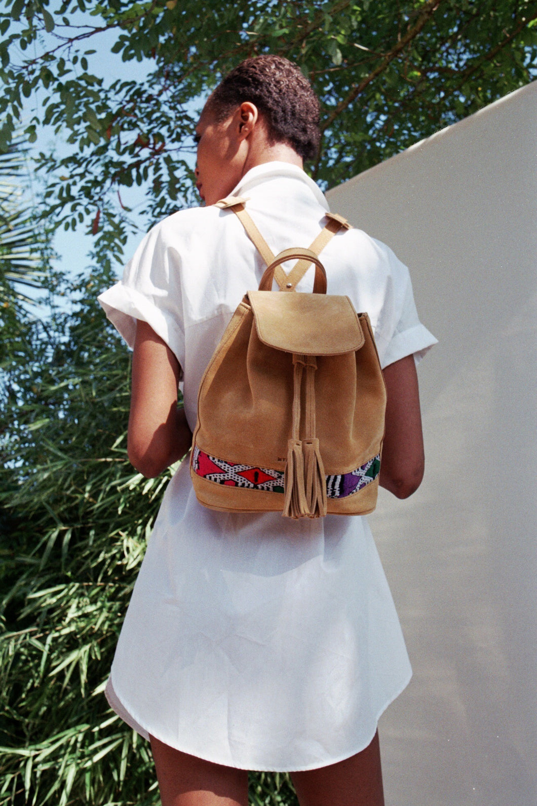 Suede back pack camel