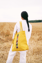 Suede and Kilim shopper bag - Yellow