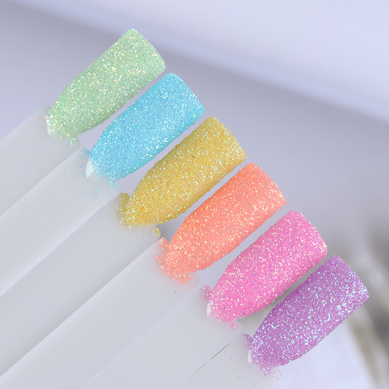 6Pcs Candy Color Nail Glitter Set Colorful Summer Rainbow Sandy ...