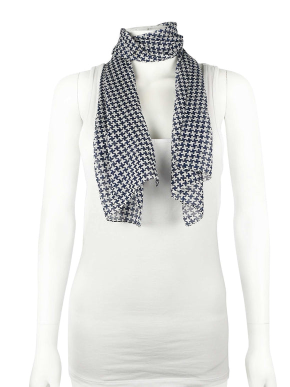 BLUE AND WHITE SHEER SCARF