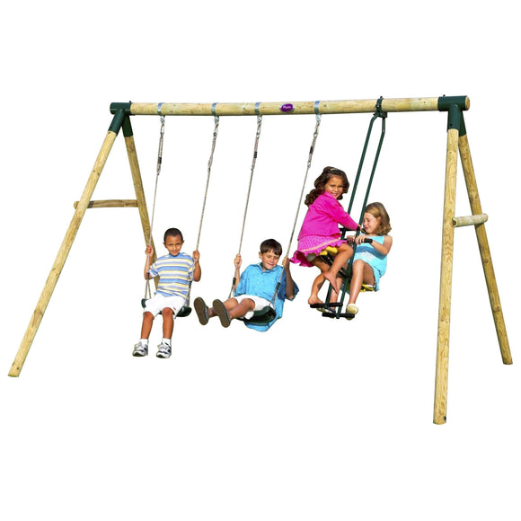 Plum Colobus Wooden Swing Set:Plum:Swing Happy