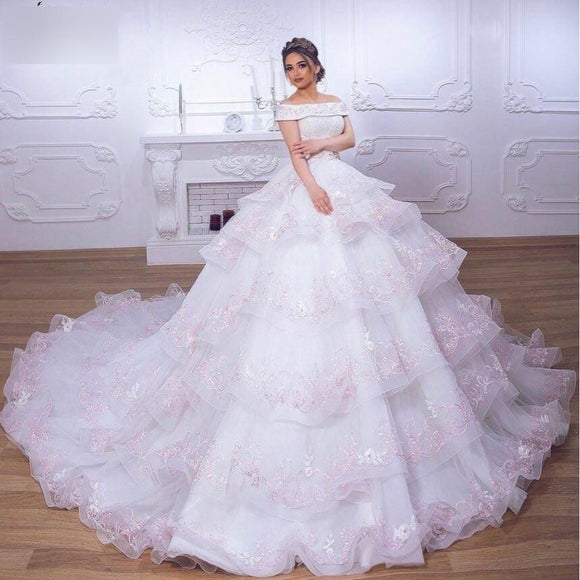 Long Sleeve Organza with Lace Appliques Ball Gown by PickAProduct