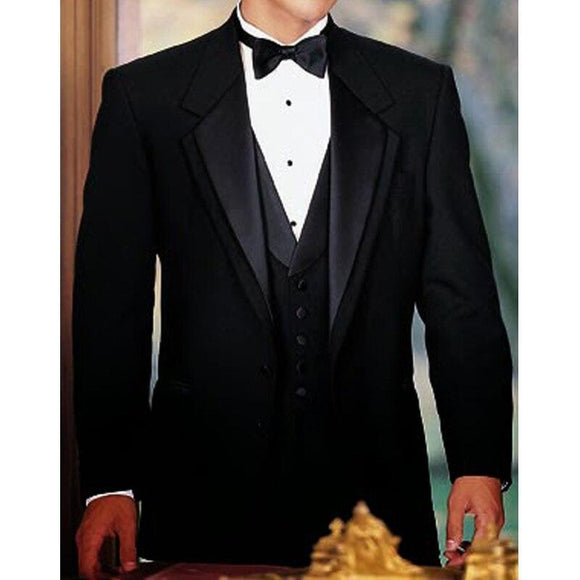 Formal Men's 3 Piece Peaked Lapel Tuxedo for Wedding by PickAProduct