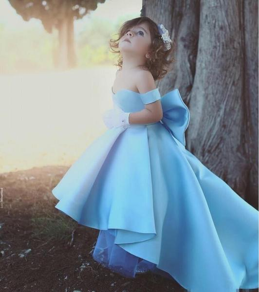 2018 Cute High Low Flower Girl Dresses Sky Blue by Pick a Product