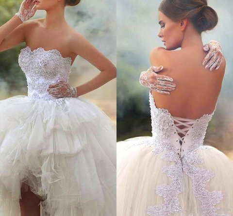 2019 Vintage High Low Short Wedding Dresses by PickAProduct