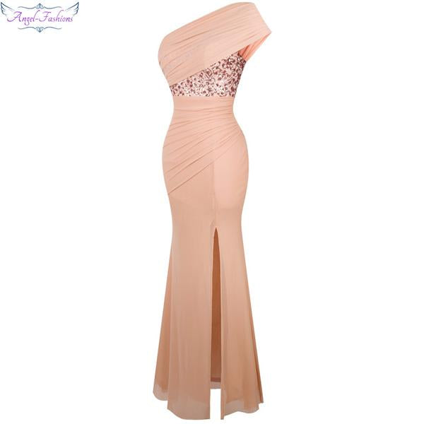 Angel fashions One Shoulder Pleat Ruched Sequin Slit Mermaid Long Prom Dress
