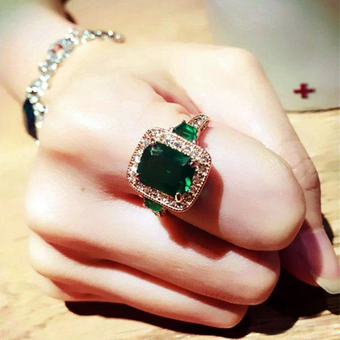 Austria Crystal Luxury Rectangle Green Stone Ring by PickAProduct