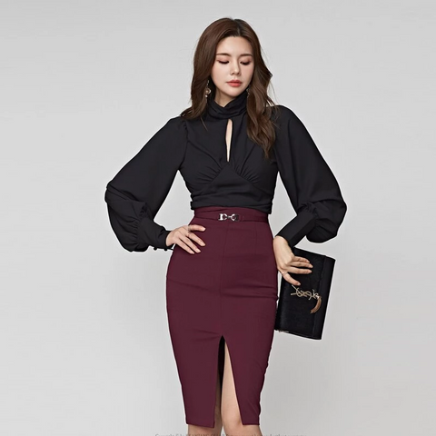 Autumn Women's Black and Burgundy 2 Pieces Skirt Set by Pick a Product