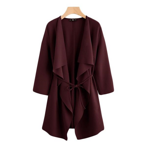 Burgundy Waterfall Collar Trench Coat with Pockets by Pick a Product