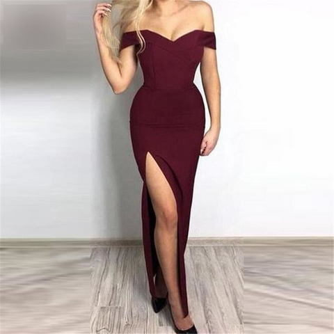Elastic Satin Off Shoulder Burgundy Evening Dresses by Pick a Product