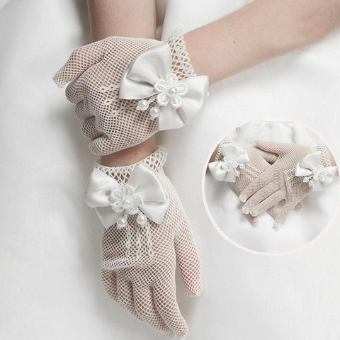 Girls White Elastic Tulle  Gloves for Wedding by PickAProduct